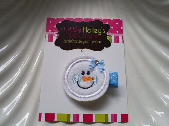 Brrr It Is Cold - Little White Glitter Snowman With Little Blue Cheeks Hair Clip
