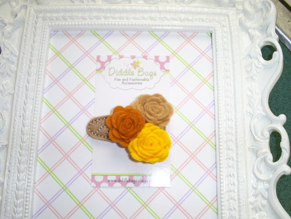 Beautiful Chestnut, Nutmeg and Sunflower Yellow Felt Rolled Roses Snap Clip
