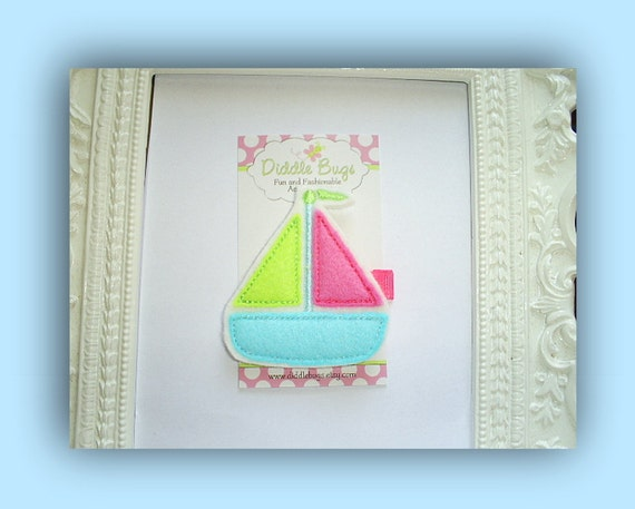 Let's Sail Away - Pink, Lime and Aqua Sailboat Hair Clip