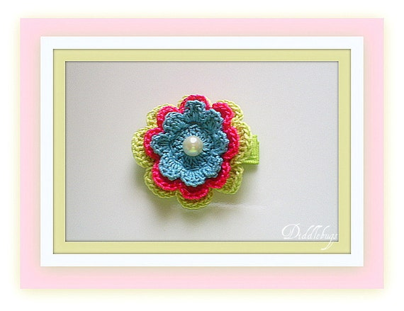 Girls Hair Clip - Girls Hair Accessory - Baby Girl Hair Clip - Lime, Bright PInk and Turquoise Crochet Flower With Pearl Center Hair Clip