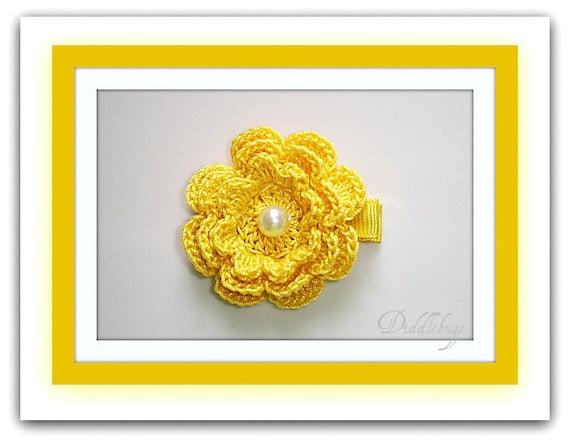 Beautiful Hand Crochet Golden Yellow Flower With Pearl Center Hair Clip
