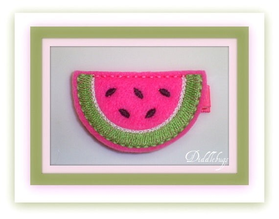 Colorful Bright PInk Watermelon Slice Hair Clip
