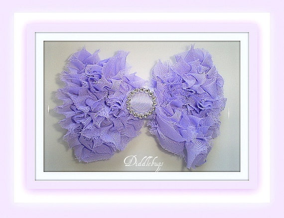 Beautiful Lavender Shabby Chiffon Grass Bow Hair Clip