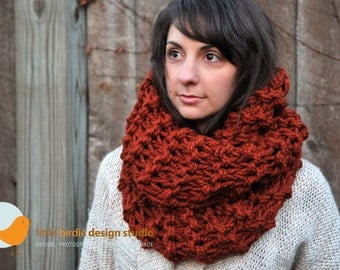 Chunky Oversized Tall Cowl Scarf in Spice -  Blanket Scarf, Snood, Holiday Gift