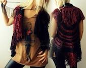 Crochet Vest- Fringe Vest- Boho Vest- Circular Vest - Hand Knit Vest- Womens Knit Sweater- Long Crochet Vest- Boho Crochet Vest- Black Vest
