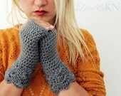 Fingerless Gloves Gift for Her Grey Mohair Lacey Fingerless Gloves Crochet Fingerless Gloves Wool Hand Warmers Grey Wrist Warmers