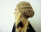 Lace knit slouchy hat- Beige slouchy hat- Hand Knit Beanie- Knit Winter Hat- Womens Slouchy Hat- Wool Beanies- Womens Skull Caps-Knit Beanie
