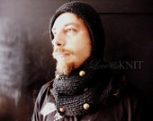 Mens Winter Hat Hooded Cowl Scarf Hand Knitted Cowl Mens Hood Cowl Neck Hoodie Military Hat Mens Knit Hat Gift for Him Mens Hooded Scarf