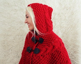 Hand Knitted Hooded Poncho- wrap shrug red riding hood halloween costume hooded poncho elven winter cape capelet knitted cardigan