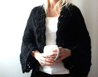 Big Black Cardigan . Hand Knit Cardigan . Loose Cardigan . Slouchy Cardigan . Knitted Cardigan Woman. Plus Size Cardigan. Plus Size Clothing