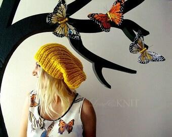 Yellow Slouchy Beanie . Baggy Knit Beanie . Hand Knit Slouchy Beanie . Slouchy Hat . Womens Slouch Beanie . Bright Knit Beanie