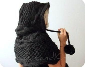 Hooded Scarf / Black Hooded Scarf / Knit Hooded Scarf /Chunky Hooded Scarf / Oversized Hooded Scarf / Hood Capelet / Hooded Cloak
