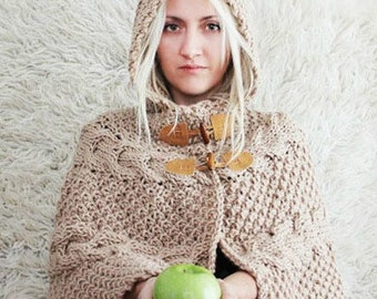 Hand Knitted Hooded Poncho, Hooded Capelet, Womens Hood, Hooded Poncho, Wool Winter Cape, Knitted Hoodie, Knitted Cardigan, Hooded Capelet