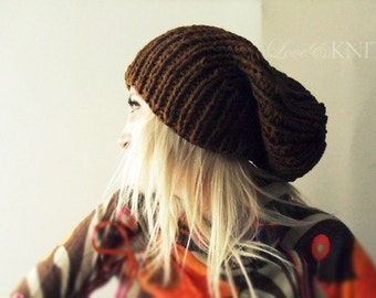 Brown Slouchy Hat . Mens Slouchy Hat . Mens Baggy Hat . Womens Slouchy Hat . Slouchy Beanie . Hand Knit Wool Hat . Knit Winter Hat