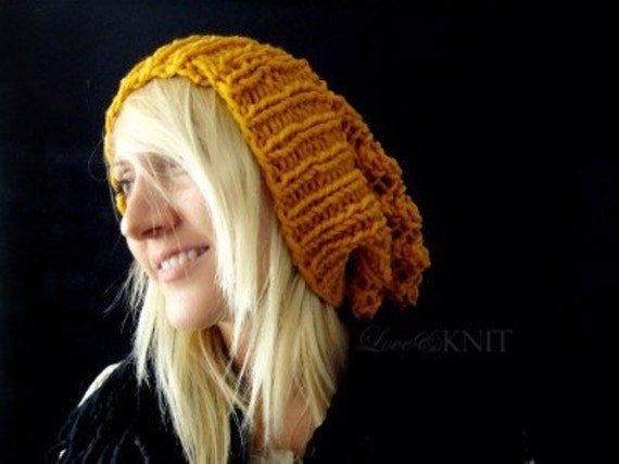 Slouchy Beanie . Lace Knit Beanie . Baggy Beanie for Women . Hand Knit Slouch Hat . Mustard Yellow Slouchy Beanie . Wool Winter Hat. Tam Hat