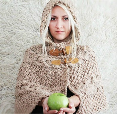 Hand Knitted Hooded Poncho Hooded Capelet Womens Hood