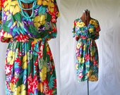 70s tropical dress sz sm summer boho disco nautical flutter floral