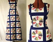Vintage 70s Maxi Jumper Dress Sz Sm, Quilted, Pinafore, Patchwork, Boho, Bicentennial