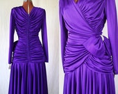 80s purple prom party dress dynasty disco NOS w tags sz med