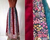 70s maxi skirt  boho gypsy velvet patchwork calico folk sz med