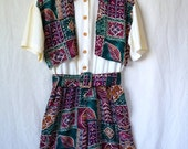 90s ethnic print detail belted romper size M