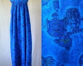 60s blue tiki print maxi dress one size fits most.