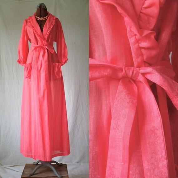 60s tangerine robe pegnoir sexy pinup sz M L Lanz of Salzburg