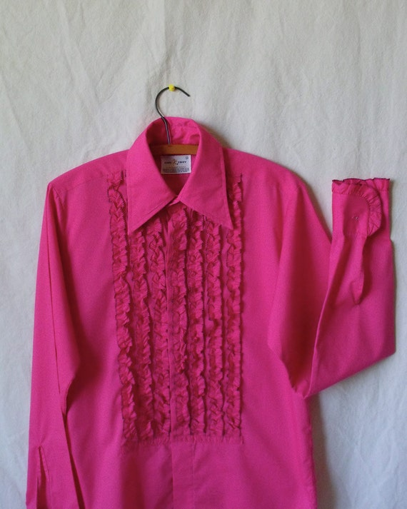 Early 70s mens pink ruffle tux shirt rare 'I Think I Love You.'