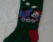 Handknitted Little Blue Engine Stocking