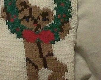 Handknit Teddy Bear Christmas Stocking