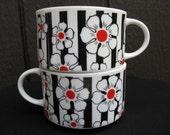 Sakura Vintage 70's Black and White Cherry Blossom Striped Big Mugs / Cups