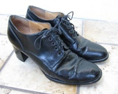 The Holborn Vintage 80's David Aaron Black High Heeled Oxford Shoes, 8.5