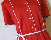 candy cane. 1970's red and white piped dress. small / medium. new old stock.