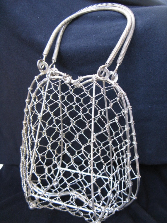 Barbed wire vintage s silvertone cage basket purse