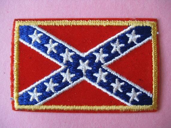 1970's Applique Patch, Confederate Flag, Stars and Bars Anti-Establishment Trucker