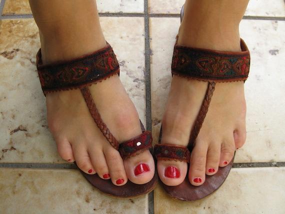 Men's Leather Square Toe Ring Toe Sandals Hawaiian Hippie |Hippie Mens Leather Sandals