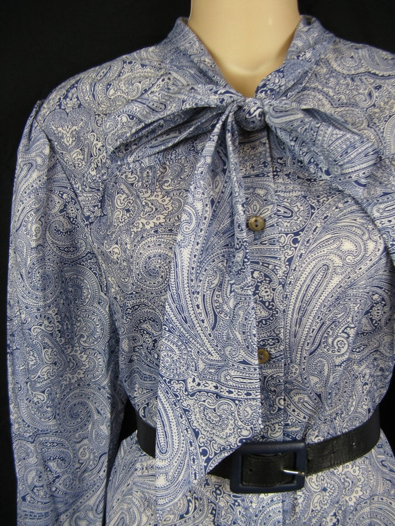 1970's secretary dress. navy paisley pussy bow / ascot tie. small. new old stock.