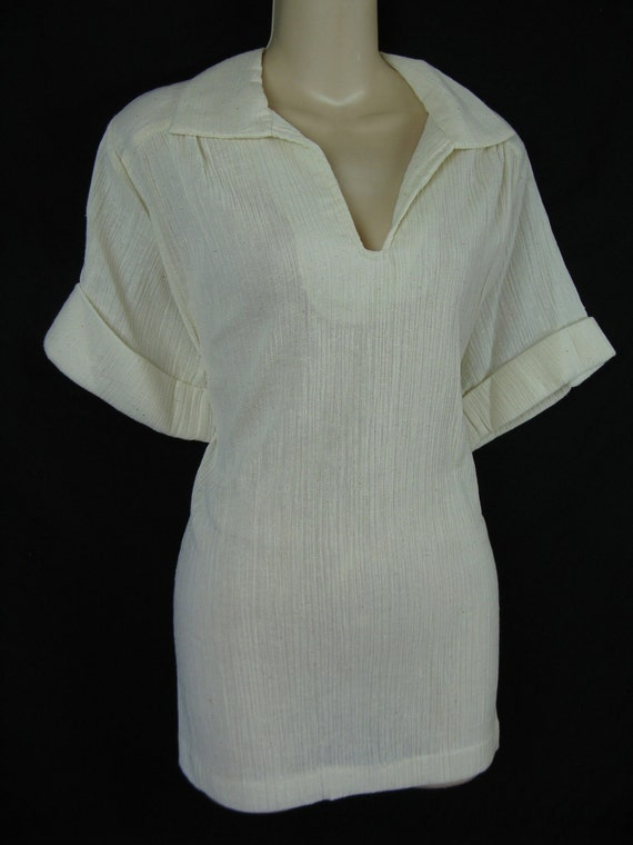 1970's gauzy linen tunic blouse. simple. natural. large. new old stock.