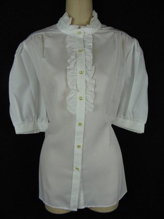 white ruffle tuxedo blouse. 1970's secretary frill neck top. medium / large. deadstock.