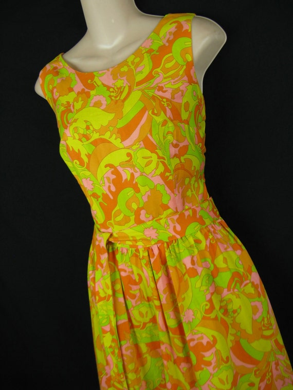mod palazzo jumpsuit. 1960's day-glo psychedelic wide leg outfit. hawaiian. small.