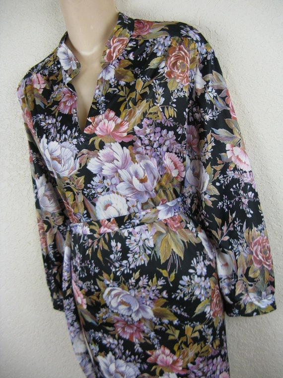 1970's flower tunic blouse. plus size. 1X. new old stock.