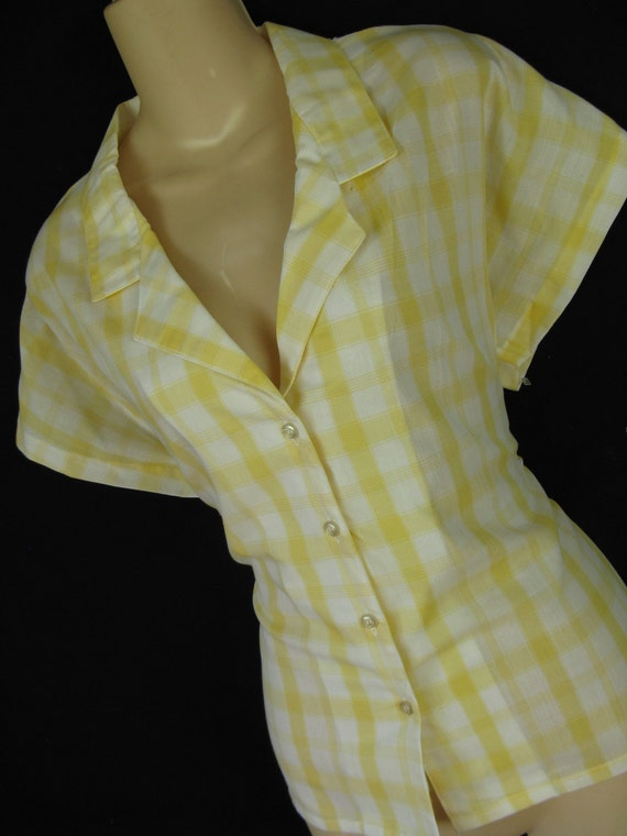 RESERVED for JLLJNN 1970's plaid blouse. 70's does 50's yellow and white button down. large. new old stock.