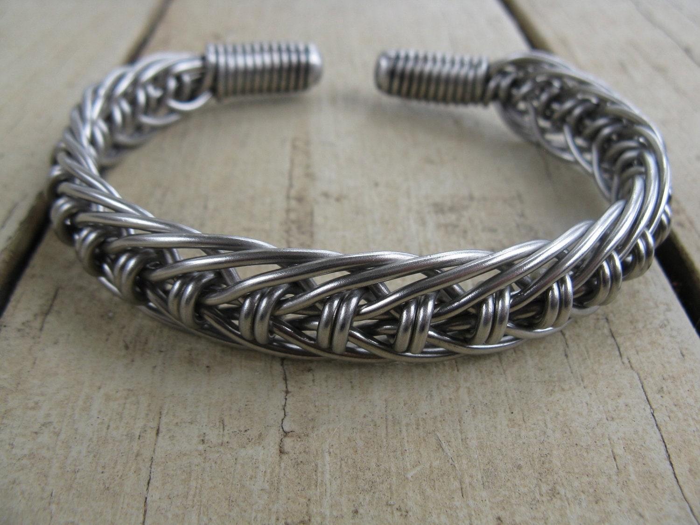 men 39 s stainless steel hand bent wire woven cuff bracelet