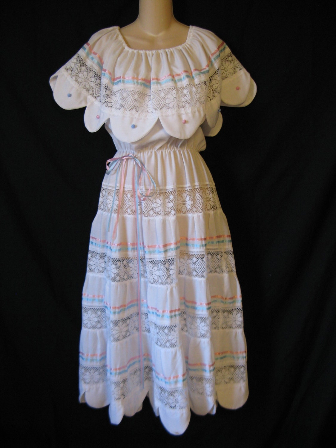 1970 S White Mexican Wedding Dress Boho Lacy Tiered