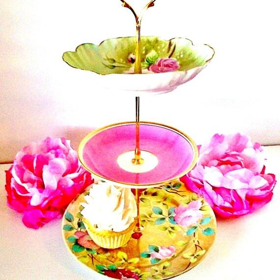 Le Petit Pretties Presents: The Geneviève Vintage China Dessert Tea Stand - 3 Tier