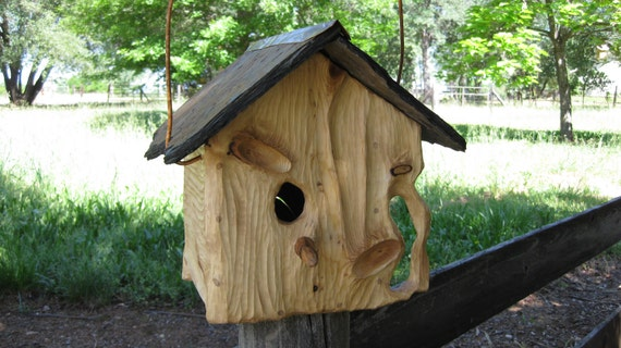 Birdhouse Rustic Slate Roof Sculpted O.O.A.K