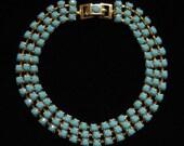 Turquoise Rhinestone Chain Bracelet, Prong Set, Gold Tone