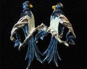 Lovebird (Blue Birds) Pin, Metallic Enamel