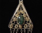 Sterling Filigree Malachite Necklace Made In Israel