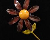 Flower Power 1960s Enamel On Copper Brooch, Brown